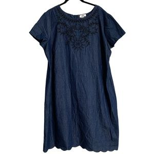 Old Navy | Denim Floral Embroidered Detail Dress